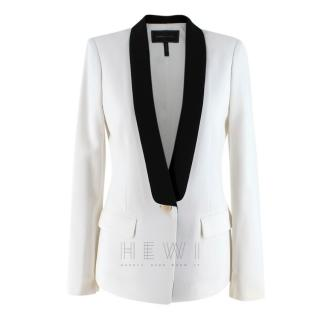 BCBG Maxazria Off-White Black-Lapel Blazer