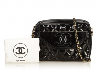 Chanel Patent Leather Quilted Camera Bag