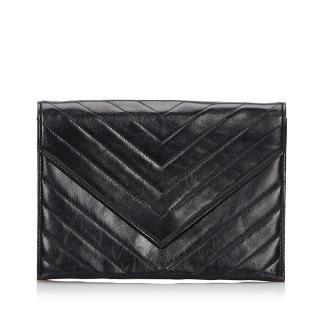 YSL Leather Chevron Clutch Bag