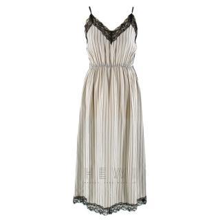 Sandro Pitt Striped Lace-Trimmed Midi Dress