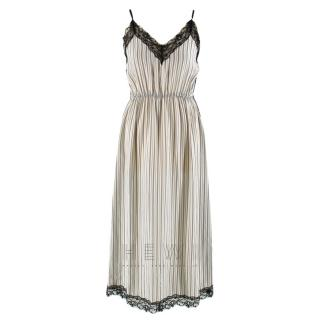 Sandro Pitt Striped Lace-Trimmed Midi Dress