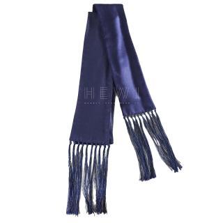 Burberry tassel-end skinny silk & wool-blend scarf
