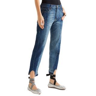 Frame two-tone frayed-hem jeans