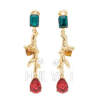 Oscar de la Renta Multicolor Coral Crystal Earrings