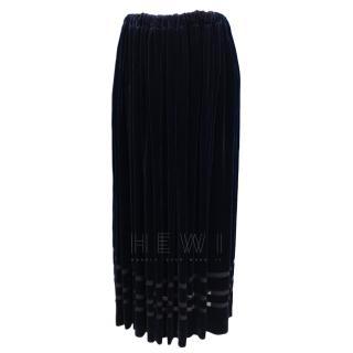 Comme des Garcon striped-hem velvet skirt