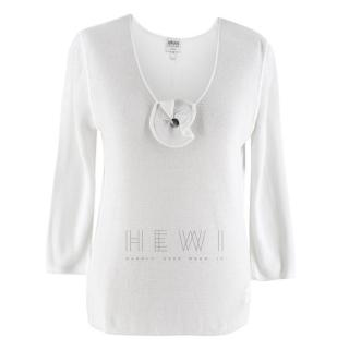 Armani White Knit Floral Top