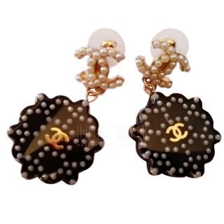 Chanel CC pearl-embellished acrylic-drop earrings