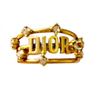 Dior antiqued gold-tone Dior crystal ring