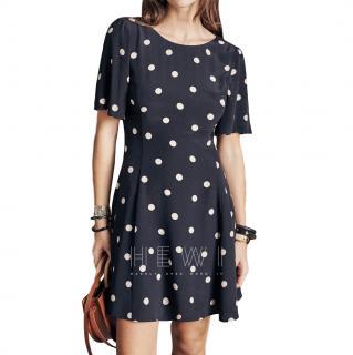 Sezane Faustine Polka-Dot Print Silk Dress