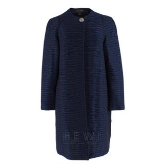 St. John navy tweed-knit collarless jacket