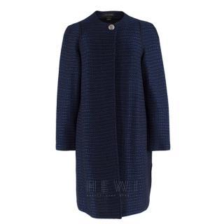 St. John navy tweed-knit collarless jacket