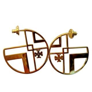 Tory Burch geometric logo hoop earring