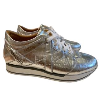 Jimmy Choo silver leather platform trainers