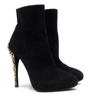 Ralph Lauren Ornate-Heel Black Ankle Boots