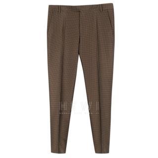Etro Silk Gold Textured Tie-Print Smart Trousers