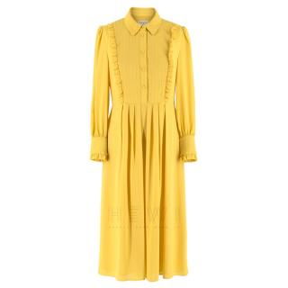 Claudie Pierlot Pleated Yellow Midi Dress