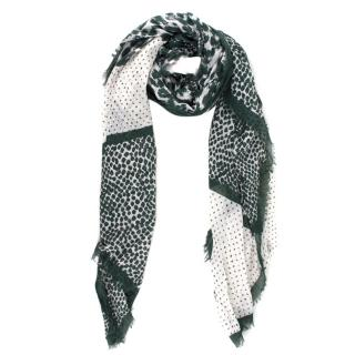 Stella McCartney Green and White Dot Pattern Scarf
