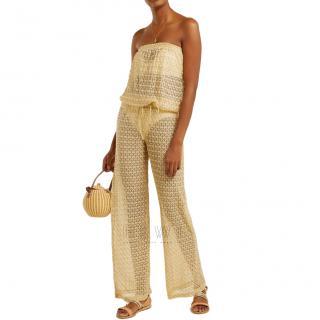 Melissa Odabash gold crochet-knit strapless jumpsuit