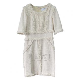 Chanel beige boucle fringed-tweed dress
