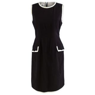 Brooks Brothers contrast-trim black cashmere dress
