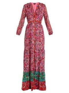 Saloni multi floral-print silk maxi dress