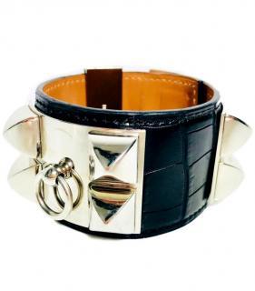 Hermes matte black alligator skin collier de chien cuff