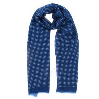 Milord floral-print blue wool scarf