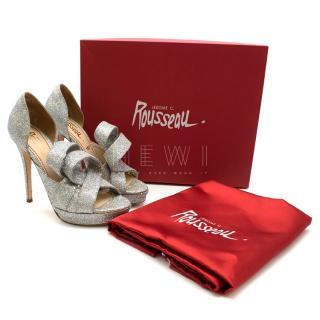 Jerome C. Rousseau Kier Iridescent Glitter Platform Sandals