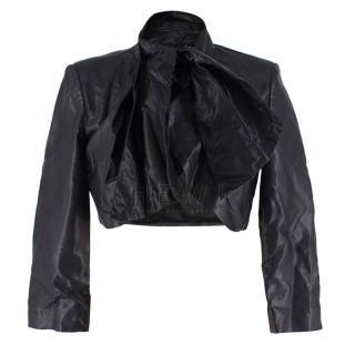 Elisabetta Franchi Black Cropped Leather Jacket