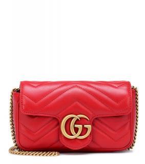 Gucci Red Leather GG Marmot super mini bag