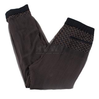 Haider Ackermann Chevron-Print Silk Overlay Track Pants