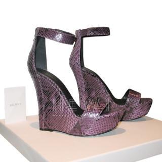 Balmain purple snakeskin Samara wedge sandals