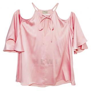 Temperley Pink Satin Cold Shoulder Top