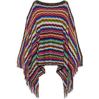 Missoni fringed crochet-knit poncho