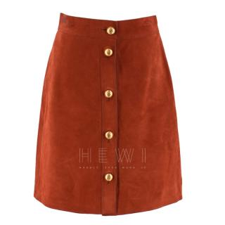 Gucci Brick Suede A-Line Skirt