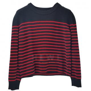 Saint Laurent Striped Wool Blend Jumper