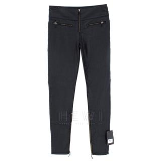 Victoria Beckham Highrise Zip Front Black Wet Look Jeans