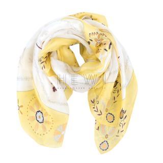 Nina Ricci Yellow & White Floral Print Scarf