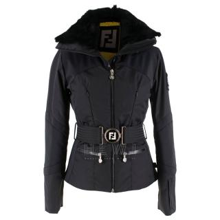 Fendi Fur Trim Black Padded Ski Jacket