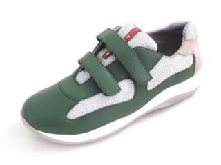 Prada green and silver mesh sneakers