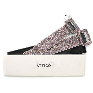 Attico Multicoloured Glitter & Black Leather Anklets
