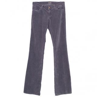 Goldsign purple velvet slight boot cut jeans