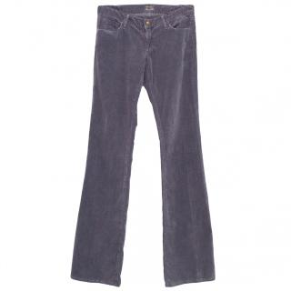 Goldsign purple velvet slight boot cut jeans