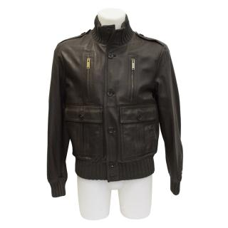 Gucci leather brown jacket