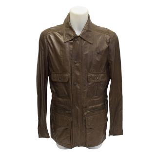 New Gucci mens safari leather jacket