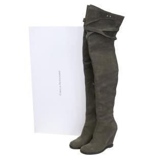 Camilla Skovgaard grey suede wedged boots