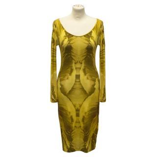 Alexander McQueen black and yellow tie dye dress