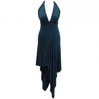 Catherine Malandrino teal drape dress