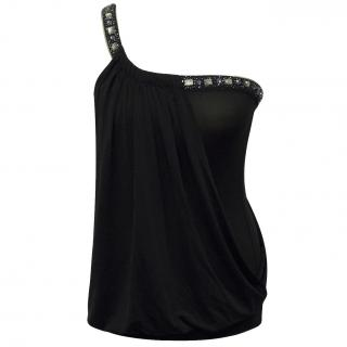 BCBG Max Azria Black One Shoulder Top