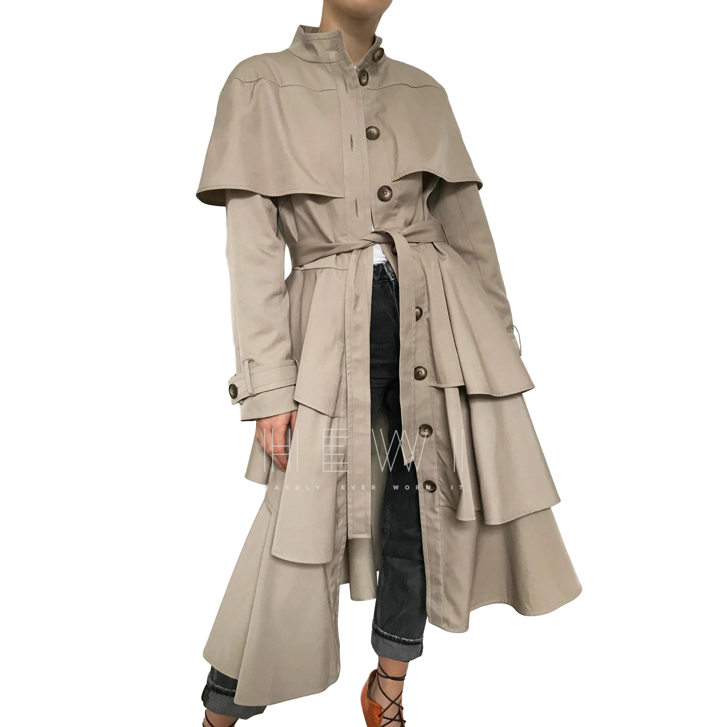 Osman tiered asymmetric beige Marguerite  trench coat